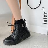 網紅粗跟馬丁靴女夏新款短筒英倫風厚底鞋顯腳小黑色機車短靴 蘇菲小店