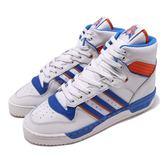 adidas 休閒鞋 Rivalry 白 藍 橘 經典款 復古籃球鞋 男鞋 高筒 百搭款 運動鞋【PUMP306】 F34139