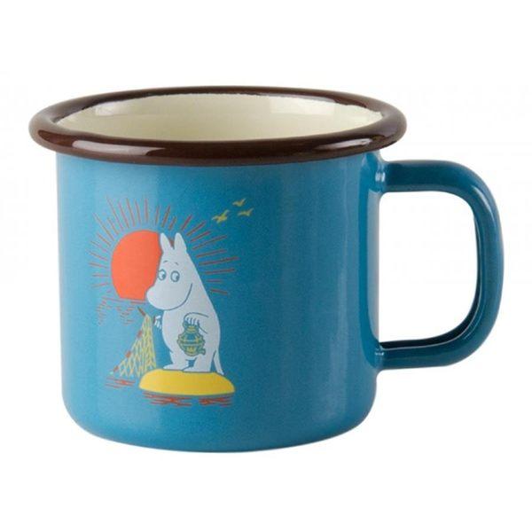 【芬蘭Muurla】嚕嚕米系列-復古嚕嚕米琺瑯馬克杯150cc(藍色)濃縮咖啡杯/琺瑯杯