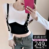 克妹Ke-Mei【AT62543】DESIGN設計感撞色吊帶釦環假二件顯胸上衣