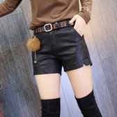 皮短褲2020秋冬新款女裝高腰顯瘦PU皮褲交時尚口開叉加絨加厚靴褲
