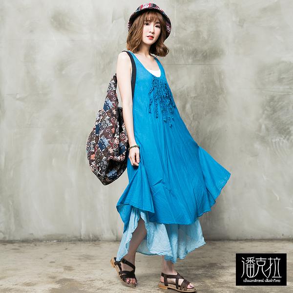 立體皺花背心洋裝(藍色)-F【潘克拉】