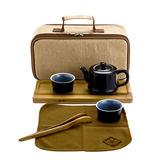 黑釉攜帶式茶組一壺兩杯附茶盤