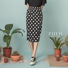 PUFII-中長裙 正韓點點鬆緊中長窄裙-0317 現+預 春【CP18162】