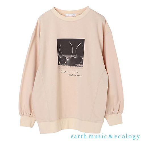 「Hot item」櫻桃圖案裏起毛長袖T恤 - earth music&ecology