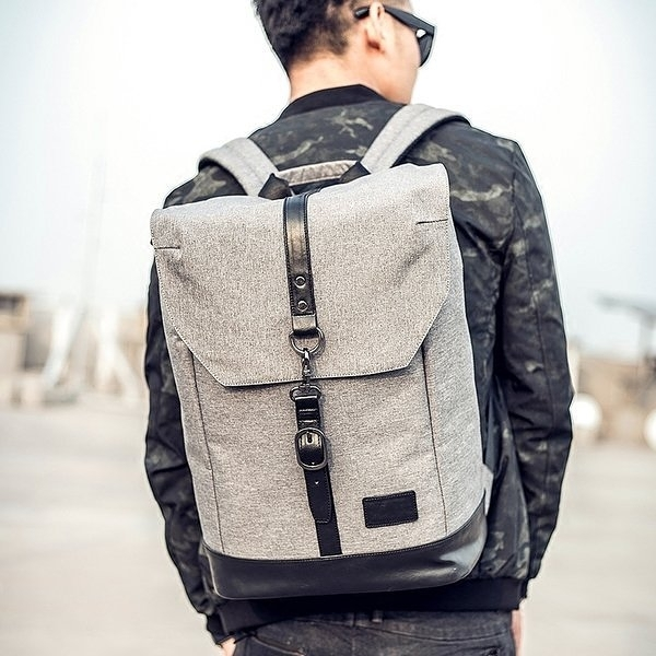 《澤米Jammy》雙肩包男英倫時尚學院風高中生大學生書包潮流帆布旅行包流行時尚男士背包