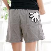 質感短褲 Ringbear眼圈熊-俏麗逗趣.數字英文手套抽繩棉質短褲 R64(灰、紅、藍2L-4L)