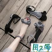 露趾平底涼鞋女春夏季韓版chic一字扣百搭學生蝴蝶結鞋子【風之海】