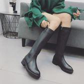 長筒靴加絨馬丁平底女騎士靴子【聚寶屋】