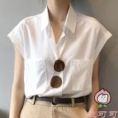 襯衫女夏季短袖薄款寬鬆復古港味無袖法式上衣【桃可可服飾】