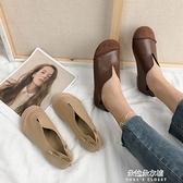 娃娃鞋 森女繫女鞋春新款軟底牛筋單鞋大頭娃娃鞋平底圓頭復古奶奶鞋 【母親節特惠】