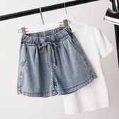 微購【A4326】鬆緊腰抽繩牛仔短褲 XL-5XL