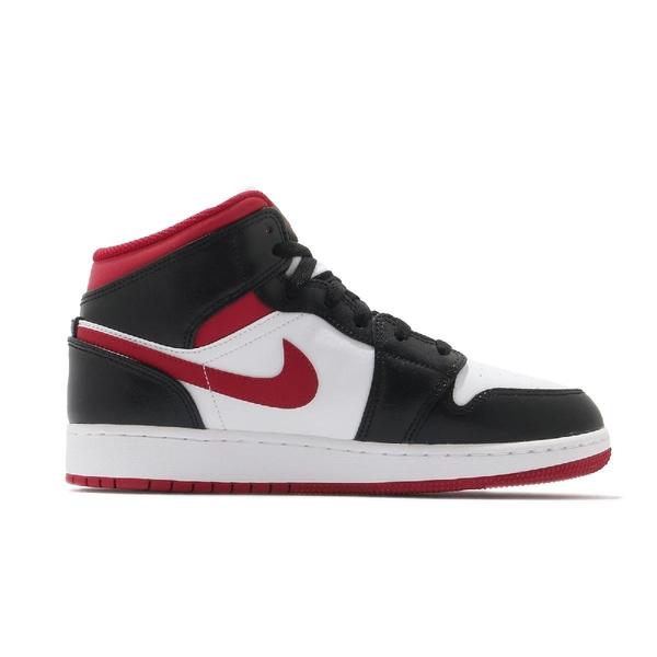 Nike Air Jordan 1 Mid GS 紅 黑 白 女鞋 大童鞋 喬丹 AJ1 籃球鞋【ACS】 DJ4695-122