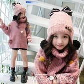 毛帽女童帽子秋冬季發光蝴蝶結甜美毛線帽韓版寶寶時尚加絨護耳臉帽【品生活】