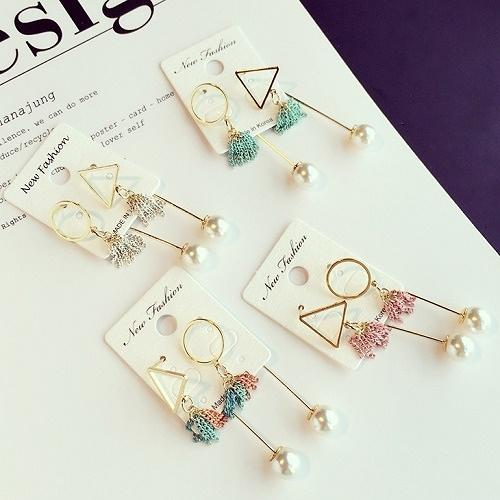 【NiNi Me】 韓系耳環 氣質甜美三角形圓環珍珠流蘇不對稱長款耳環 耳環 N0046
