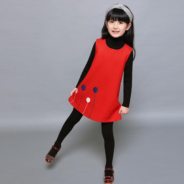 女童洋裝秋冬新款韓版洋氣兒童毛呢公主裙子寶寶背心裙春秋  夏季新品