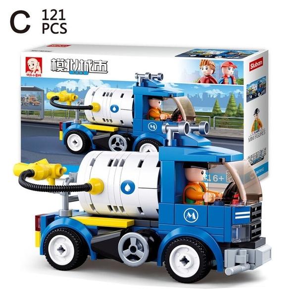 快樂小魯班 B0781 城市工程積木 (有4款)/一款入(促180) 市政車 DIY益智積木 拼裝積木 益智玩具-鑫