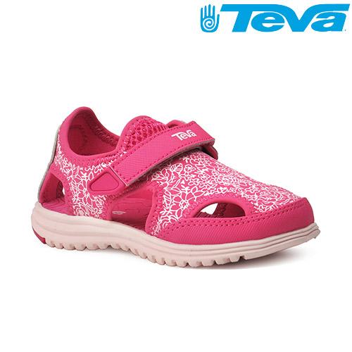TEVA Kids 女童護趾水陸運動涼鞋Tidepool Sport - 白花紅(小童幼童)