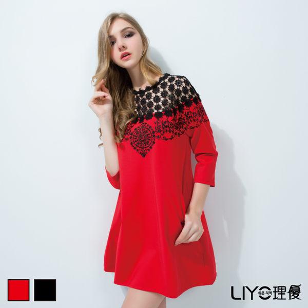 LIYO理優蕾絲拼接刺繡洋裝626027