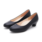 MICHELLE PARK 微笑時光 圓頭圓鞋口素色低跟鞋-黑色