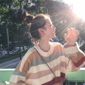 新款毛衣女時尚秋冬寬鬆外穿套頭慵懶風條紋針織衫外套ins潮  喵喵物語