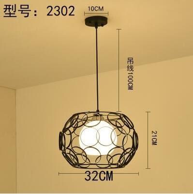 2302黑色款北歐餐廳吊燈創意個性餐廳燈飯廳燈現代鐵藝