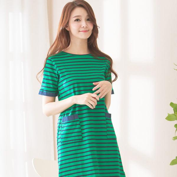 條紋層次洋裝(綠)