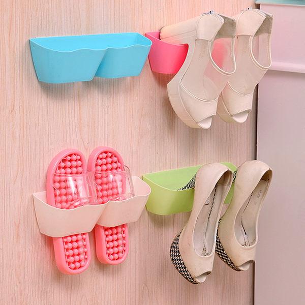 【TT419】客廳衛浴掛壁式波浪分隔立體鞋架 創意門後牆面DIY組合收納鞋架