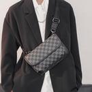 肩背包 胸包 2021新款時尚胸包小方包 皮質格子單肩包街頭小挎包手機包斜跨包