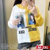歐美字母印花拚色長袖連帽上衣 M-2XL O-ker歐珂兒 17719