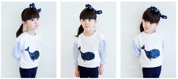 *╮小衣衫S13╭*亮片小鯨魚接條紋泡泡袖上衣 1050933