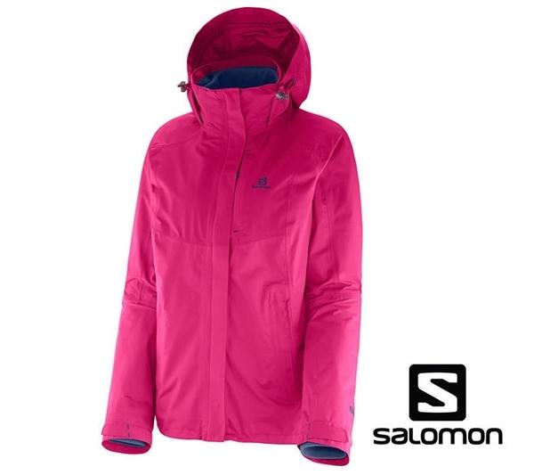 【法國Salomon】Cyclone 3:1 Trekking Jacket GTX  兩件式防風防水保暖外套-女 (桃紅/灰藍)