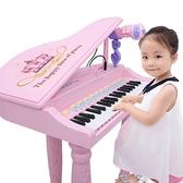 兒童電子琴女孩鋼琴話筒初學可彈奏充電寶寶益智3-6周歲音樂玩具 LX 夏洛特
