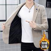 秋冬季純色仿水貂絨加絨加厚小西裝外套男上衣青年發型師修身西服