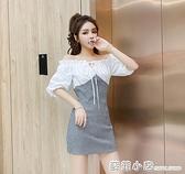 夏季女裝2021新款時尚氣質修身顯瘦包臀裙子甜美網紅一字肩洋裝 蘇菲小店