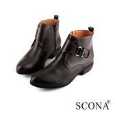 SCONA 全真皮 簡約俐落側扣短靴 咖啡色 8770-2