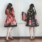 現貨宅舞日系軟妹和風lolita花魁柄廣袖開襟華麗op露肩洋裝連身裙洋裝「輕時光」