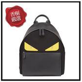 FENDI怪獸黃眼尼龍拚皮革鑲飾背包(黑)7VZ012全新商品