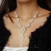 韓式人造珍珠人工水鉆結婚新娘項鏈套裝配飾品毛衣鎖骨鏈