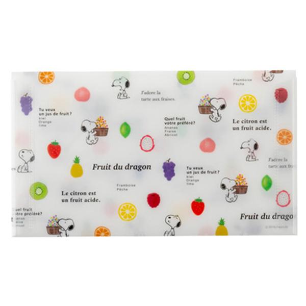 Marimo 日本製PP信封式票券收納夾 SNOOPY 水果 白 FT65412