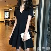 洋裝 夏季新款女裝法式性感小黑裙子收腰顯瘦V領氣質泫雅風洋裝 至簡元素