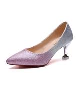 高跟鞋女2019新款春季尖頭亮片婚鞋銀色單鞋水晶新娘細跟鞋
