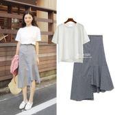 2018夏季韓版新款時尚套裝裙小香風兩件套半身裙格子連身裙女學生  巴黎街頭
