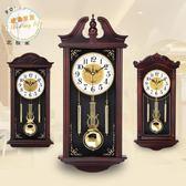 掛鐘中式掛鐘客廳仿實木石英鐘歐式創意復古靜音擺鐘搖擺壁鐘錶jy