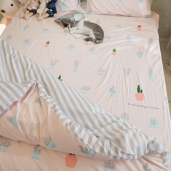 粉色仙人掌 Q1雙人加大三件組 100%復古純棉 極日風 台灣製造 棉床本舖