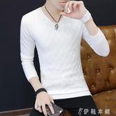 男士V領打底衫韓版修身白色毛衣薄款青年針織衫潮流 伊鞋本鋪