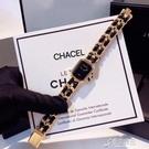 方形女錶網紅爆款錶歐美復古時尚小香錶錬條編織帶手錶女