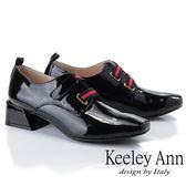 ★2019春夏★Keeley Ann慵懶盛夏 漆皮質感條紋粗跟包鞋(黑色)