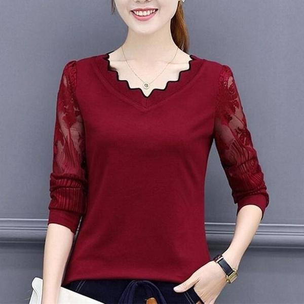 純棉長袖t恤女 秋裝新款蕾絲打底衫中老年媽媽上衣女衛生衣外穿