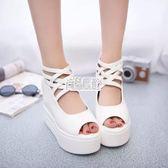 夏新款超高跟坡跟涼鞋女白色鬆糕鞋厚底防水台內增高魚嘴鞋 萬聖節